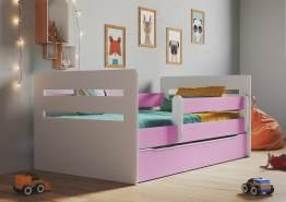 Kinderbett Jugendbett Rosa mit Rausfallschutz Schubalde und Lattenrost Kinderbetten für Mädchen und Junge - Tomi 80 x 140 cm