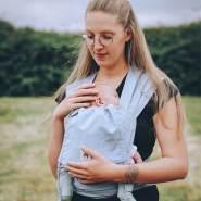LIMAS Babytrage Halfbuckle | 50 -86 cm | Bauchtrage & Rückentrage & Hüfttrage | ab Geburt bis Kleinkindalter | Baby Carrier | Sky