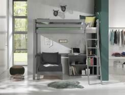 Vipack Hochbett grau, 90 x 200 cm inkl. Sesselbett und Regal mit zwei Fächern