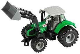 Idena 40290 - Traktor mit beweglichem Frontlader, Schwungradantrieb, Anhängerkupplung und aufklappbarer Motorhaube, ca. 29,5 x 14,5 x 17,3 cm