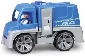 Lena 04455 TRUXX Polizei Einsatzfahrzeug mit Spielfigur als Polizist mit Schutzschild, Polizeiauto mit Zubehör, Polizeitransporter mit Türen zum Öffnen, Spielfahrzeug für Kinder ab 24m+, blau, Silber