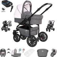 Friedrich Hugo Berlin | 4 in 1 Kombi Kinderwagen + ISOFIX| Luftreifen | Farbe: Grey and Light Rose Night