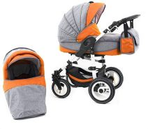 Tabbi ECO LN | 2 in 1 Kombi Kinderwagen | Hartgummireifen | Farbe: Orange
