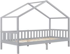 Kinderbett Kongsvinger 90x200cm Holz Hellgrau en. casa