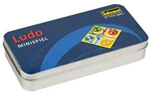 Idena 40109 Mini Spiel Ludo in praktischer Metallbox zur Aufbewahrung und für den Transport, Spielfeld, 16 Spielfiguren und 2 Würfel, Spielfläche ca. 13 x 12,5 cm, bunt