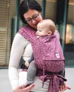 LIMAS Babytrage Halfbuckle | 50 -86 cm | Bauchtrage & Rückentrage & Hüfttrage | ab Geburt bis Kleinkindalter | Baby Carrier | Ginko Blackberry