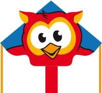 Ecoline 102204 - Simple Flyer Owl 120cm Kinderdrachen Einleiner, ab 5 Jahren, 75x120cm und 1.5m Drachenschwanz, inkl. 17kp Polyesterschnur 25m auf Griff, 2-5 Beaufort