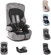 Lorelli Kindersitz Harmony Isofix Gruppe 1/2/3 (9-36 kg) umbaubar Sitzerhöhung schwarz/grau