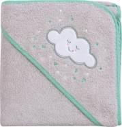 Clevamama Baby Kapuzen Handtuch - Badetuch Badeponcho als Schürze aus Baumwolle, Grau