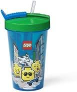 LEGO Trinkbecher mit Strohhalm Iconic blau/grün