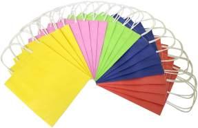 folia 21809 - Papiertüten aus Kraftpapier, Geschenktüten, 20 Stück, 18 x 8 x 21 cm, farbig sortiert - zum Basteln, Verzieren und Verschenken