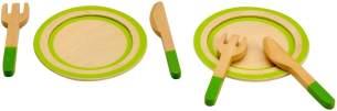 Idena 4100075 - Kleine Küchenmeister Geschirrset aus Holz mit viel Zubehör, für Spielküche und Kaufmannsladen, ab 3 Jahre, 13 teilig