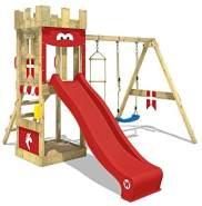 WICKEY Spielturm Ritterburg KnightFlyer mit Schaukel & roter Rutsche, Spielhaus mit Sandkasten, Kletterleiter & Spiel-Zubehör