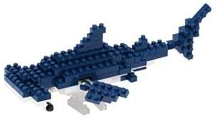 nanoblock NBC-137 - Hammerhead Shark / Hammerhai, Minibaustein 3D-Puzzle, Mini Collection Serie, 120 Teile, Schwierigkeitsstufe 2, mittel
