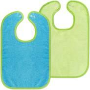 Wörner 2er Set - Baby Lätzchen/Kinderlätzchen mit Druckknopf/Größenverstellbar/Extra groß/Sehr saugfähig/Öko-Tex schadstoffgeprüft / 100% Baumwolle (Blau/Grün)
