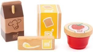 small Foot 11439 Frühstücks-Set Fresh, aus Holz, Rollenspielzeug, 4-teilig Spielzeug, Mehrfarbig