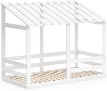 VitaliSpa 'Silvia' Hausbett, Weiß, 80x160cm, Massivholz Buche, inkl. Lattenrost und Rausfallschutz