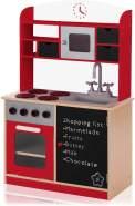Baby Vivo Kinderküche Spielküche aus Holz Kinderspielküche Küche Holzküche Spielzeugküche mit Tafel - Mila in Rot
