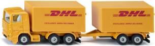 """Siku 1694 LKW mit Anhänger """"DHL"""" gelb (Blister) Modellauto"""