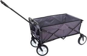 Faltbarer Bollerwagen HWC-E38, Handwagen Gartenwagen Transportwagen klappbar ~ ohne Dach/Hecktasche grau