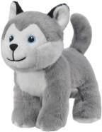 Bauer Spielwaren I Like My Planet - Husky: Kuscheltier aus softem Plüsch, hergestellt aus recycelten PET-Flaschen, 100 % recycelt, stehend, 15 cm, grau-weiß (12915)