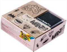folia 31102 - Holzstempelset Unicorn, inklusive 10 Holzstempel und 2 Stempelkissen - ideal zum Verzieren von Karten, Freundschaftsbüchern, für Lettering und Scrapbooking