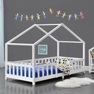 en.casa Hausbett aus Kiefernholz mit Rausfallschutz 80x160cm inkl. Lattenrost, natur