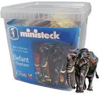 Ministeck 31823 - Elefant, Steckbild XXL, ca. 4.300 Teile, Bildgröße 40 x 40 cm, im Aufbewahrungseimer