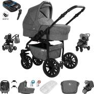 Friedrich Hugo Berlin | 4 in 1 Kombi Kinderwagen + ISOFIX | GEL Reifen | Farbe: Grey and Grey Night
