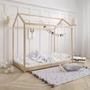 Stabiles Hausbett aus Massiv-Holz 160x80 mit Lattenrost Natur belassen