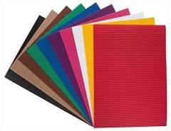 folia 740409 - Bastel Wellpappe, E-Welle, ca. 25 x 35 cm, 10 Bogen sortiert in 10 verschiedenen Farben