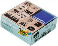 folia 31103 - Holzstempelset Superheroes, inklusive 12 Holzstempel und 2 Stempelkissen - ideal zum Verzieren von Karten, Freundschaftsbüchern, für Lettering und Scrapbooking