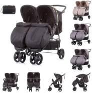 Chipolino Geschwisterkinderwagen Maxi Mix, Fußabdeckung, Rückenlehne verstellbar schwarz