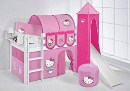 Lilokids 'Jelle' Spielbett 90 x 200 cm, Hello Kitty Rosa, Kiefer massiv, mit Turm, Rutsche und Vorhang