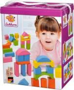 Eichhorn 75 pastellfarbene bunte Holzbausteine in Aufbewahrungsbox und Sortierdeckel, FSC 100% zertifiziertes Buchenholz, Motorikspielzeug geeignet für Kinder ab 1 Jahr