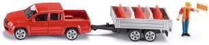 siku 3543, Pick-Up mit Kippanhänger, 1:55, Metall/Kunststoff, Rot, Inkl. Spielzeugfigur und 5 Verkehrsleitblöcke