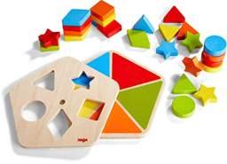 HABA 305381 - Motorikbrett Formenkarussell, Legespiel mit Drehscheibe und geometrischen Formen zum Stecken und Zuordnen, Holzspielzeug ab 2 Jahren