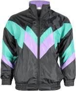 Foxxeo 80er Jahre Kostüm für Erwachsene Premium 80s Trainingsjacke Assianzug Assi - Herren Größe S-XXXXL - Fasching Karneval Anzug, Farbe Schwarz-grün-lila, Größe: XXL