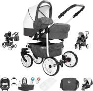 Friedrich Hugo Berlin | 3 in 1 Kombi Kinderwagen Komplettset | GEL Reifen | Farbe: Dark Grey and White Day