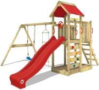 WICKEY Spielturm Klettergerüst MultiFlyer mit Schaukel & roter Rutsche, Kletterturm mit Sandkasten, Leiter & Spiel-Zubehör
