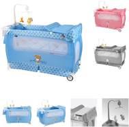 Lorelli 'Sleep ´n Dream Plus' Reisebett, Laufstall 2 Ebenen Mobile faltbar Räder blau