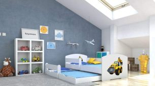 Angelbeds 'Luk' Kinderbett 80x160 cm, Motiv 28, inkl. Flex-Lattenrost, Schaummatratze und Schubbett
