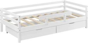 en.casa Kinderbett aus Kiefernholz inkl. 2 Bettkasten und Lattenrost 140x70 cm, weiß