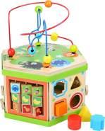 small foot 4020972042446 Motorikwürfel Safari, Baby-Kinderspielzeug aus Holz