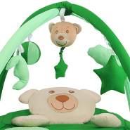Krabbeldecke Erlebnisdecke Spieldecke Krabbeldecke Babygym Nestchen mit Spielbogen - 3 in 1, Farbe:Grün, Motiv:Sleeping Bear mit Musik