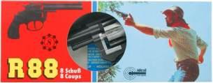 J.G.Schrödel R88: Spielzeugpistole für Zündplättchen, in Box, robuste Qualität aus Zink und Kunststoff, für 8-Schuss-Munition, 18 cm, schwarz (101 0288)