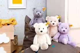 Steiff Bearzy Teddybär - 28 cm - Kuscheltier für Babys - Soft Cuddly Friends - weich & waschbar - grau (241543)
