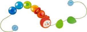 Haba 303756 - Kinderwagenkette Raupe | Wagenkette mit Holzelementen in Regenbogenfarben und niedlichem Raupenkopf | Baby-Spielzeug für den Kinderwagen