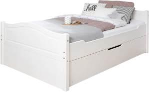 Ticaa Einzelbett 'Leni' 120x200 Kiefer massiv - mit Zusatzbett - weiß