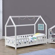 en.casa 'Sisimiut' Hausbett inkl. Rausfallschutz und Lattenrost, 90x200 cm, weiß